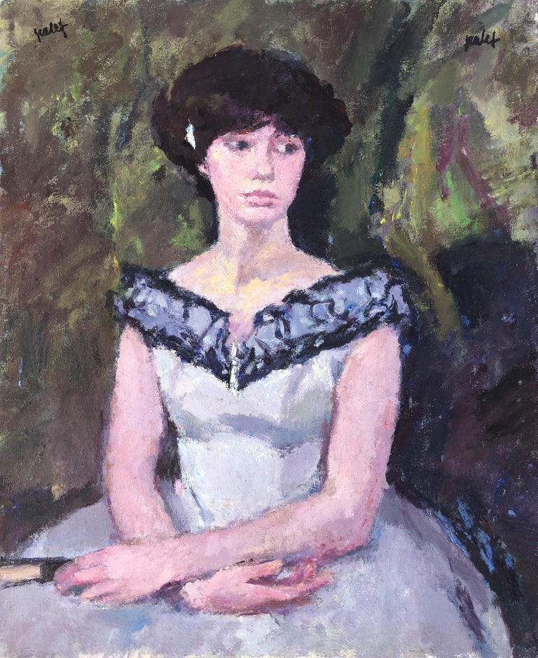 Joan Palet Portrait Painting - Young woman original oil on canvas painting c.1975