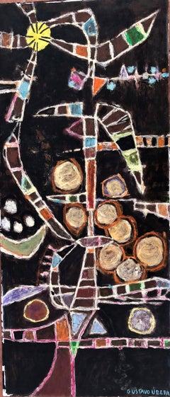 grid flower original oil on panel painting constructivism c.1975