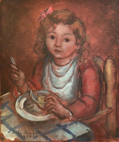Little girl eating original oil on canvas painting