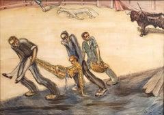 Bullfight scene original acrylic paint on board