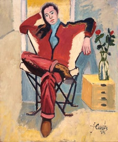 Sit woman with flowers oil on canvas painting