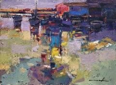 Leisure port original oil on canvas laid board seascape
