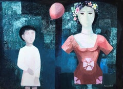 Boy and dummy original surrealist oil on canvas painting