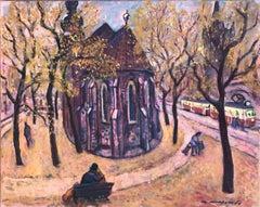 Autumn in Prague original oil on canvas painting urban landscape