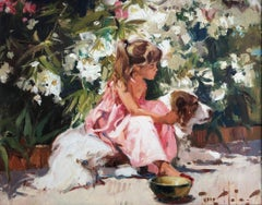 A girl and her dog at garden oil on board painting