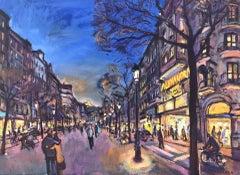 Rambla Catalunya Barcelona Spain oil on canvas painting urban view