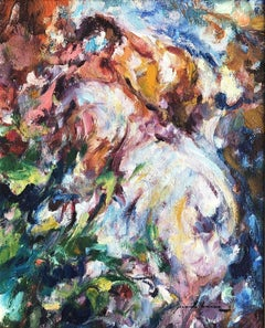 Woman at garden fauvism original oil on board painting