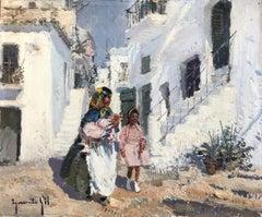 Ibiza village view Spain original oil on canvas painting