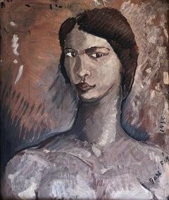 Jose Fin self portrait original oil on canvas painting