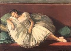 Dancer resting original oil on canvas painting