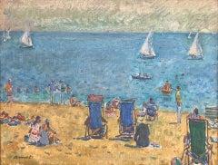 Sant Feliu de Guixols beach Spain original seascape oil canvas