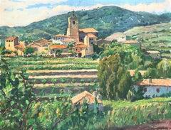 Spanish landscape original oil on canvas painting