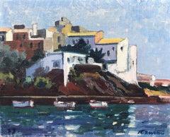 Cadaques landscape Spain original oil on canvas laid cardboard