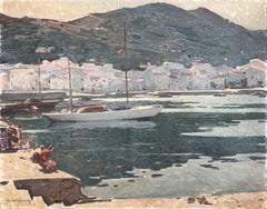 Morning Port de la Selva Spanish seascape oil on canvas painting