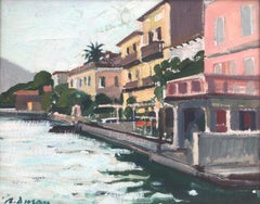 Limone sul Garda view Italy original oil on canvas painting