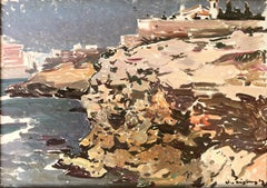 Sitges view seascape original oil painting on board