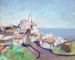 Mediterranean village seascape original oil painting