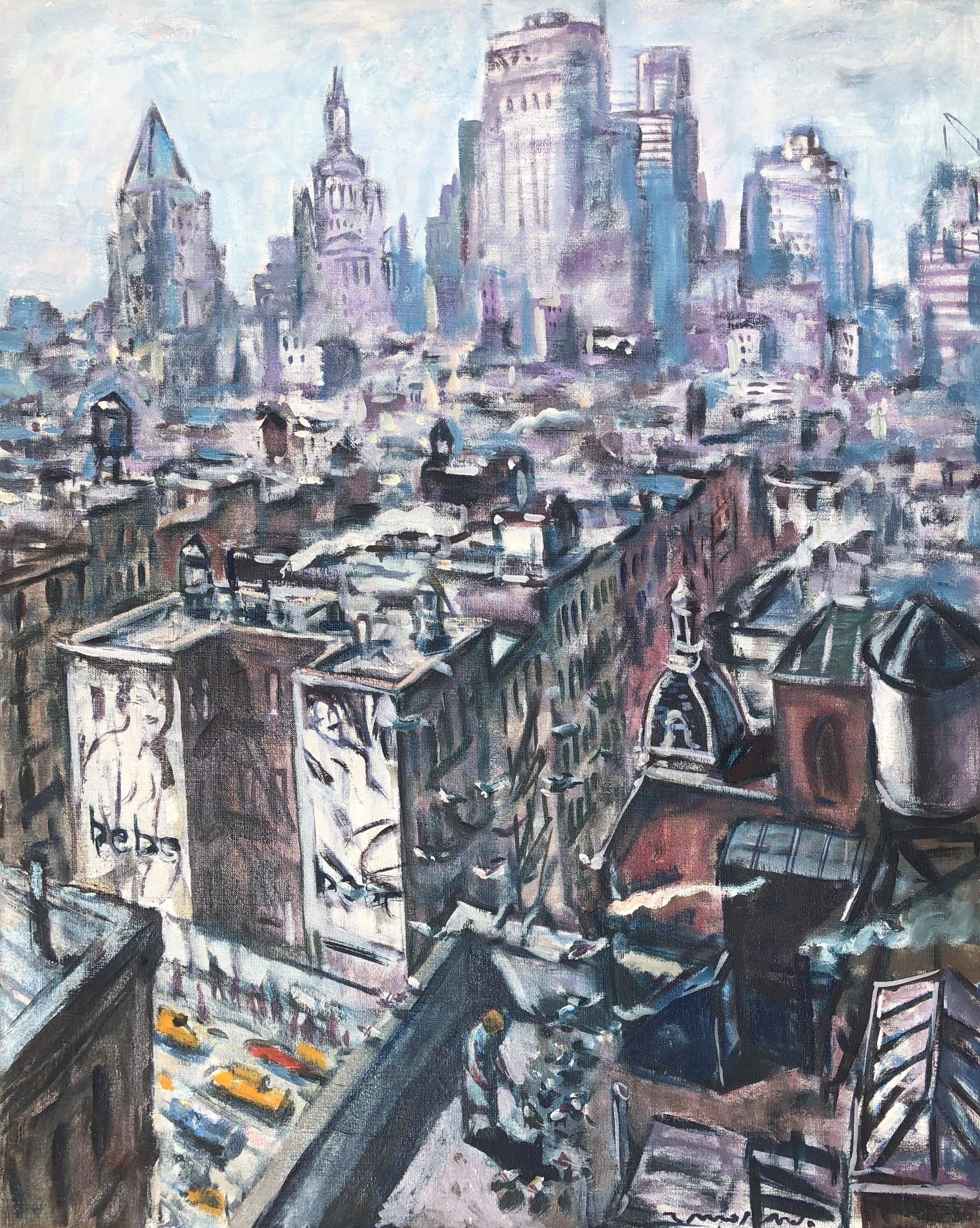 New York City view NYC original oil on canvas painting