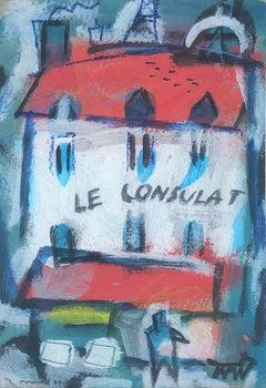 Le consulat Paris Montmartre original oil on cardboard painting