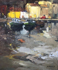 Fishing village, Basque Country oil on canvas seascape