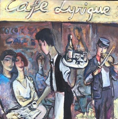 Cafe Lyrique Geneva view original oil on canvas painting