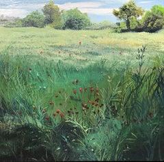 Valencia field spanish landscape oil on board painting
