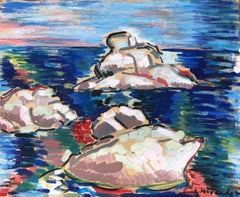 Fauvist seascape original oil on cardboard painting