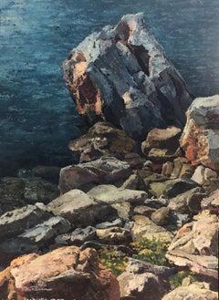 Menorca seascape original oil on canvas painting