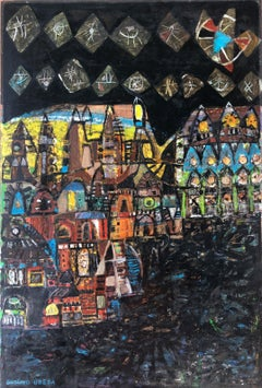 City view in Brazil original acrylic paint on board
