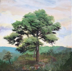 Landscape with tree acrylic paint on board