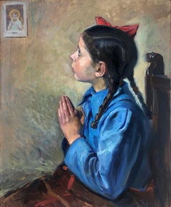 Little girl praying oil on board painting