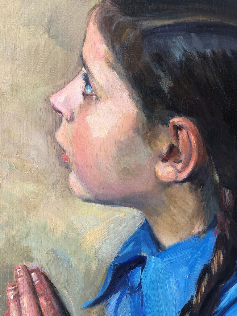 Little girl praying oil on board painting - Gray Portrait Painting by Josep Rovira Soler