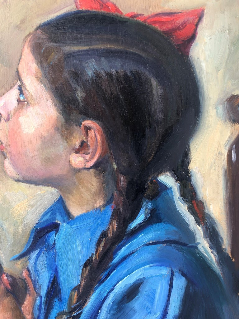 Little girl praying oil on board painting 1