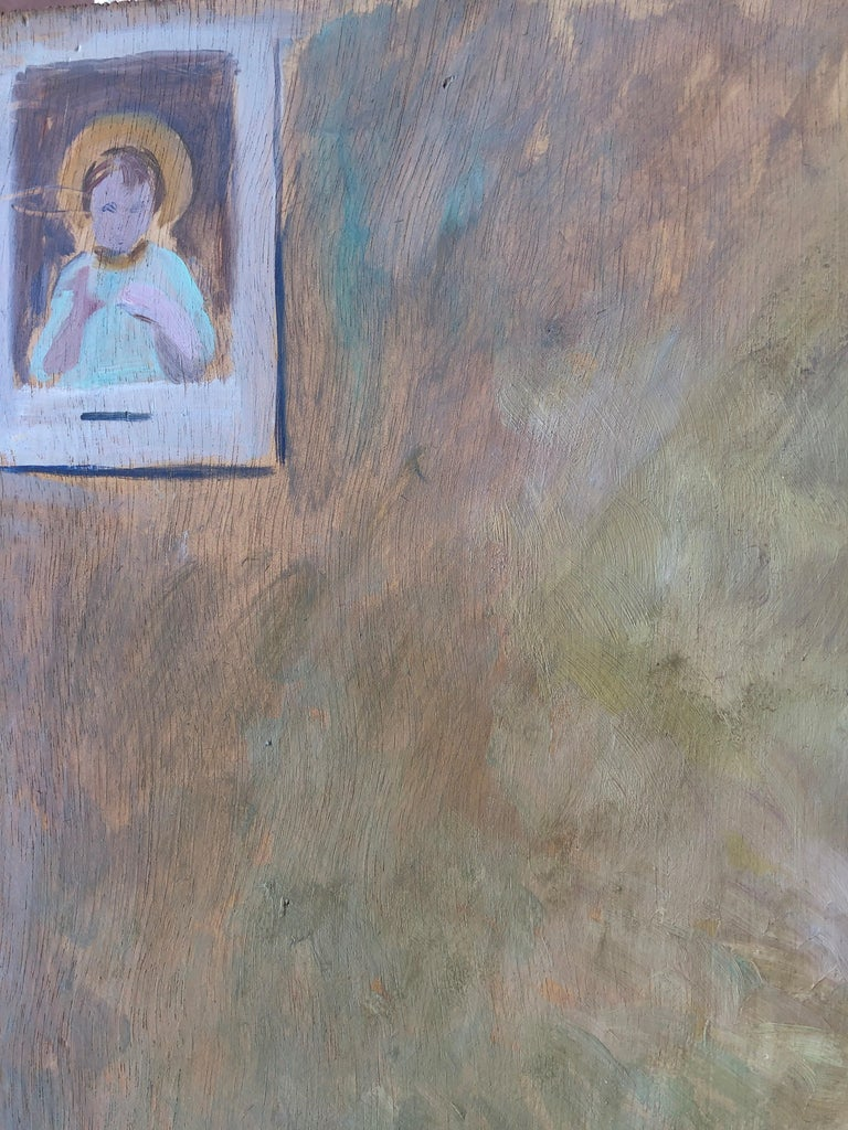 Little girl praying oil on board painting 2