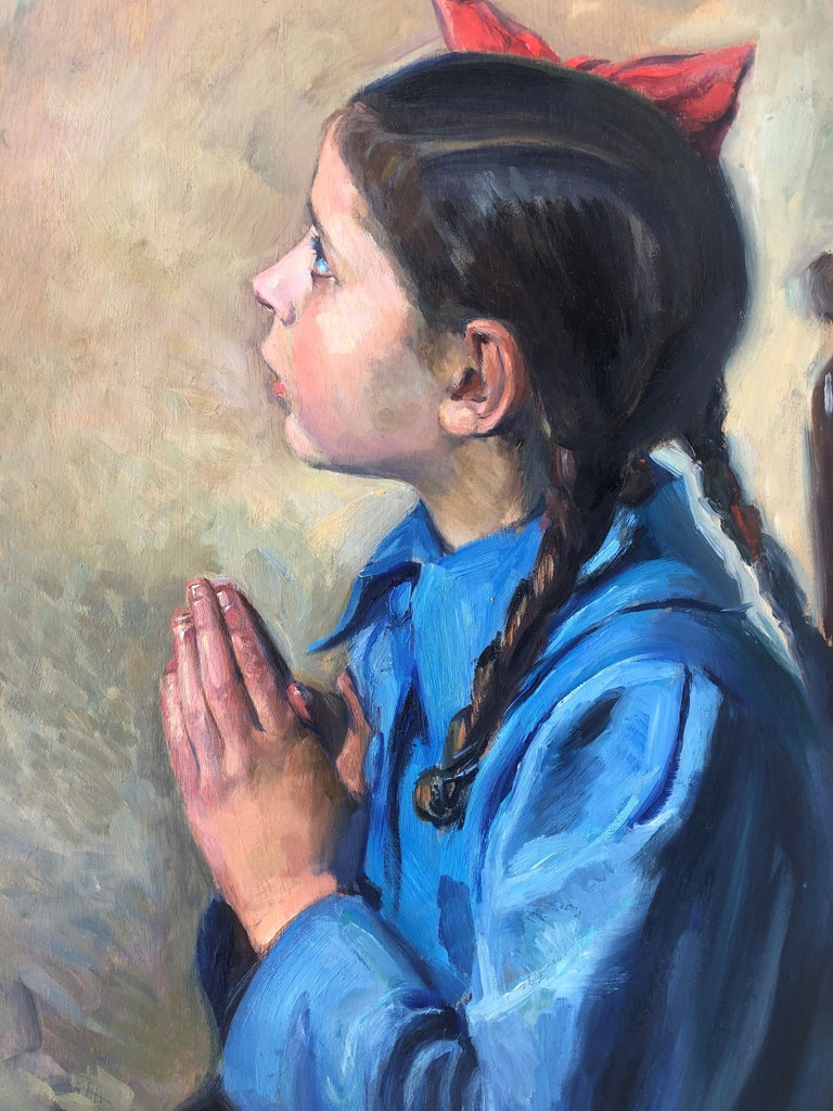 Little girl praying oil on board painting 4