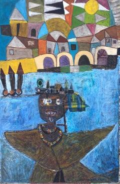 Surreal scene, Brazil original acrylic painting on board