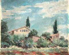 Landscape with farmhouse oil painting on board