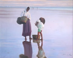 Mother and son on the beach oil on canvas painting