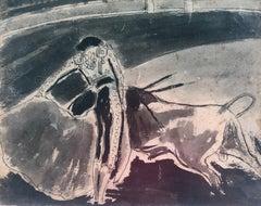 Bullfighting original ink wash watercolor