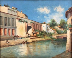 Seville Guadalquivir River Spain oil on canvas painting