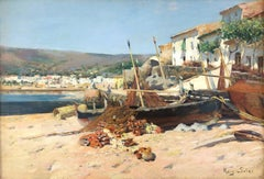 Fishermen beach Spain original oil on canvas xix century