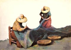 Women mending fishing nets mediterranean oil on canvas painting