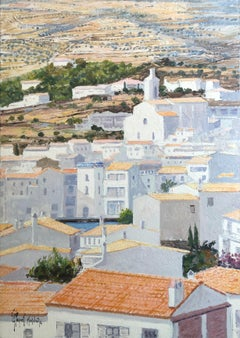 Roofs of Cadaqués Spain oil on canvas painting