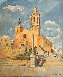 The church of Sitges Spain oil on canvas painting