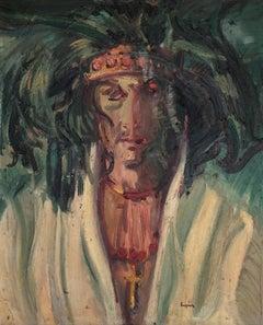 Hippie portrait original oil on canvas painting