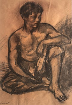 Young beggar original spanish modernism drawing
