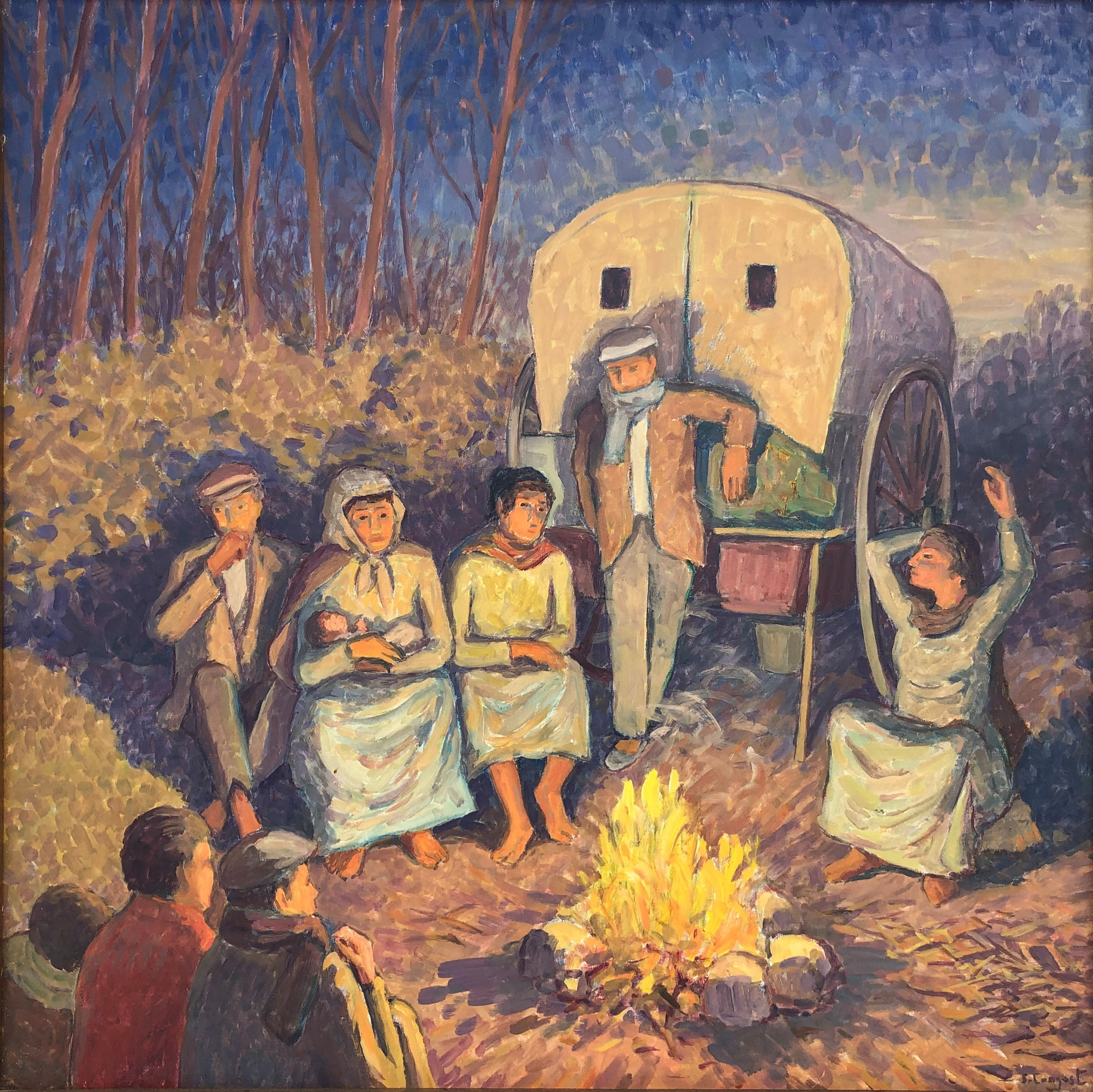 Gypsy caravan oil on canvas painting