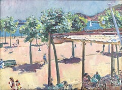 Sant Feliu de Guixols Spain original seascape oil canvas c.1960