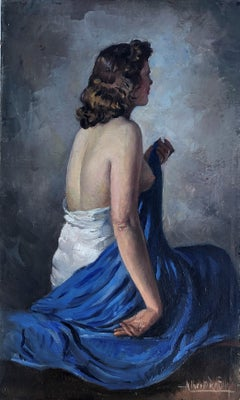Rafols Culleres naked woman oil on canvas painting