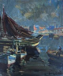 Spanish fishing port seascape original oil on canvas painting
